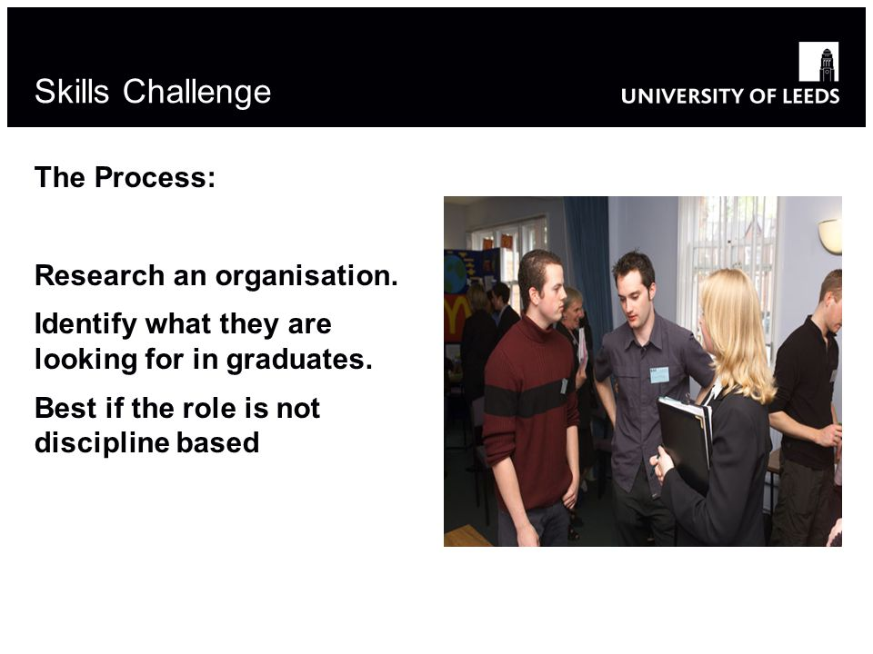 Skills Challenge The Process: Research an organisation.