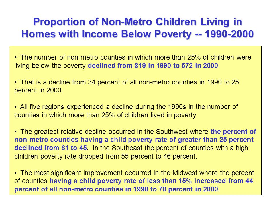 Proportion of Non-Metro Children Living in Homes with Income Below Poverty The number of non-metro counties in which more than 25% of children were living below the poverty declined from 819 in 1990 to 572 in 2000.