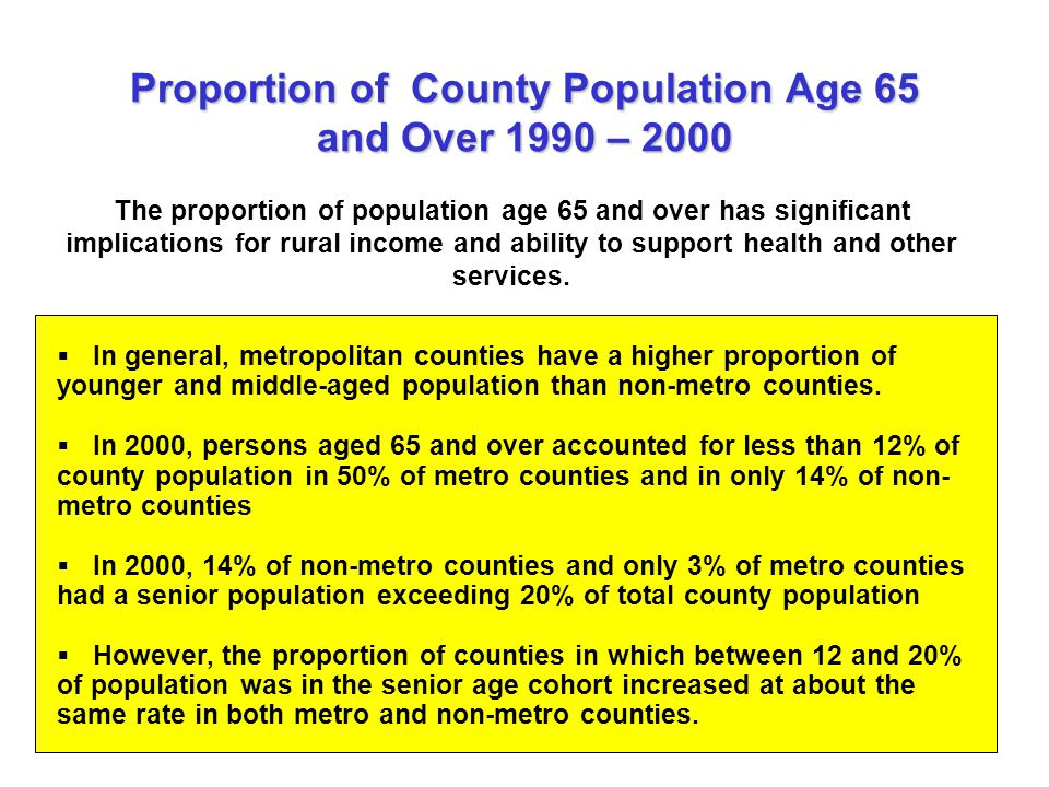 Proportion of County Population Age 65 and Over 1990 – 2000  In general, metropolitan counties have a higher proportion of younger and middle-aged population than non-metro counties.