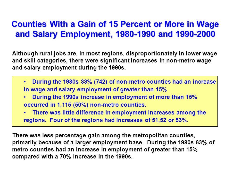 Counties With a Gain of 15 Percent or More in Wage and Salary Employment, and Although rural jobs are, in most regions, disproportionately in lower wage and skill categories, there were significant increases in non-metro wage and salary employment during the 1990s.