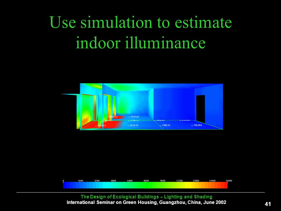 The Design of Ecological Buildings – Lighting and Shading International Seminar on Green Housing, Guangzhou, China, June Use simulation to estimate indoor illuminance