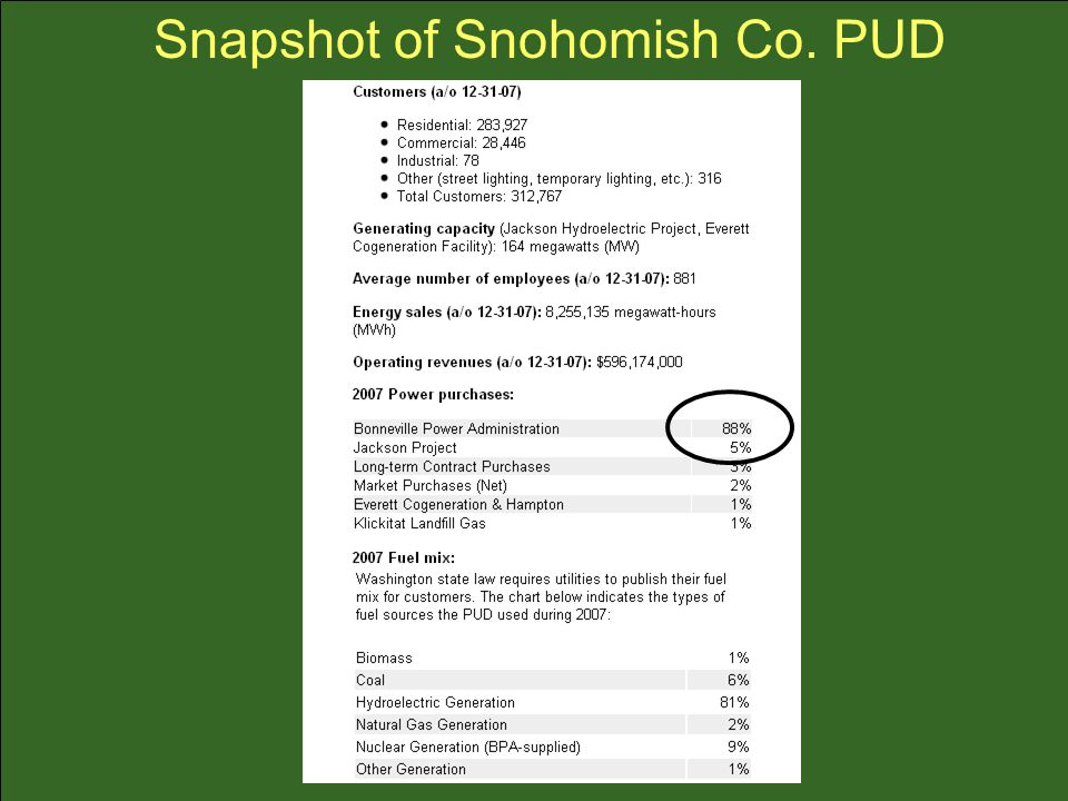 Snapshot of Snohomish Co. PUD