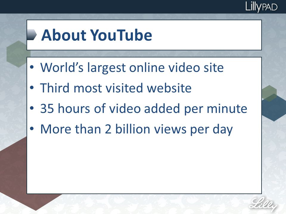 About YouTube World's largest online video site Third most visited website 35 hours of video added per minute More than 2 billion views per day