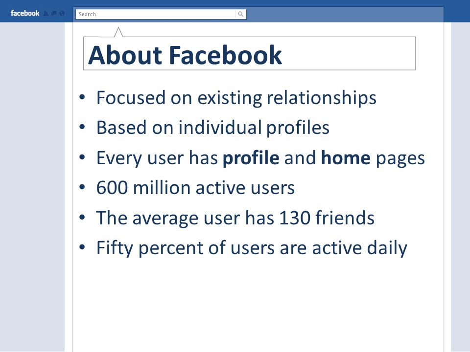 About Facebook Focused on existing relationships Based on individual profiles Every user has profile and home pages 600 million active users The average user has 130 friends Fifty percent of users are active daily