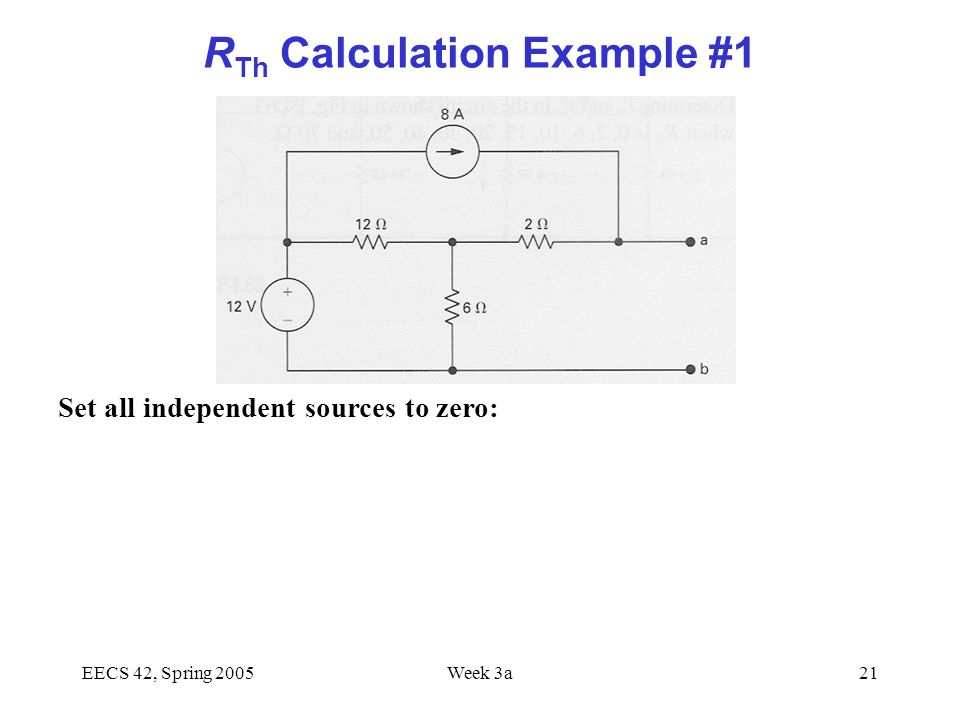 EECS 42, Spring 2005Week 3a21 R Th Calculation Example #1 Set all independent sources to zero: