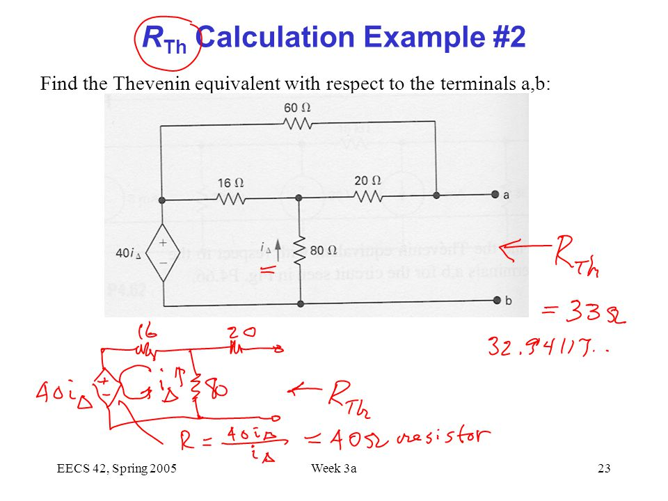 EECS 42, Spring 2005Week 3a23 R Th Calculation Example #2 Find the Thevenin equivalent with respect to the terminals a,b: