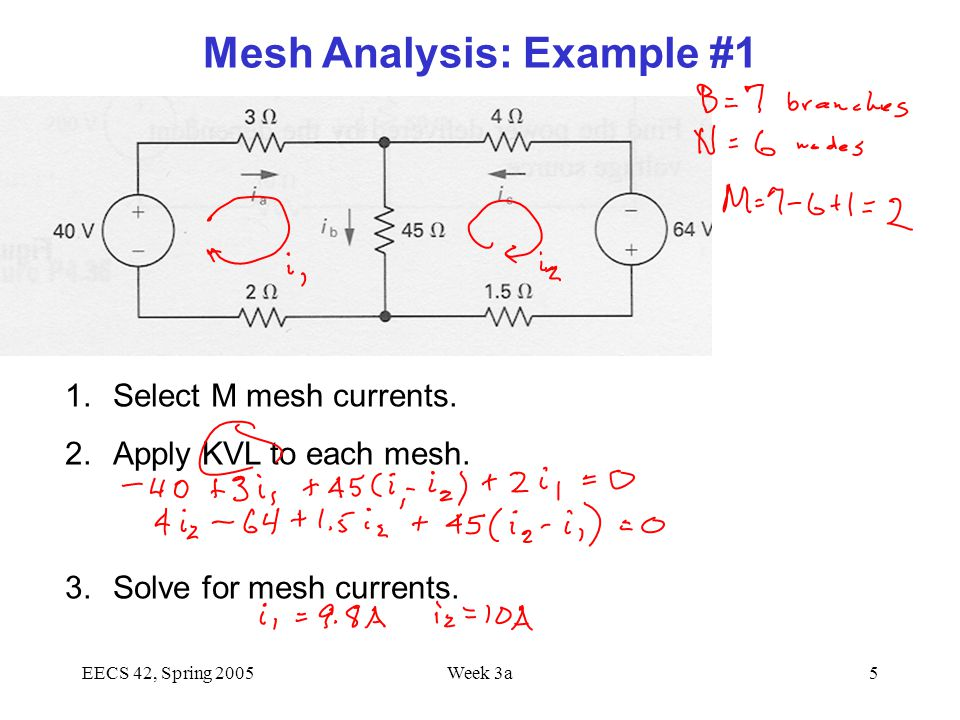 EECS 42, Spring 2005Week 3a5 1.Select M mesh currents.