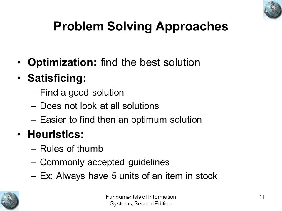 Fundamentals of Information Systems, Second Edition 11 Problem Solving Approaches Optimization: find the best solution Satisficing: –Find a good solution –Does not look at all solutions –Easier to find then an optimum solution Heuristics: –Rules of thumb –Commonly accepted guidelines –Ex: Always have 5 units of an item in stock