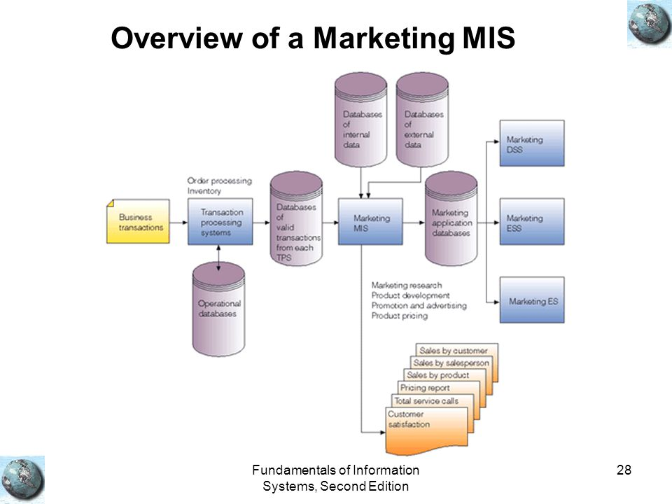 Fundamentals of Information Systems, Second Edition 28 Overview of a Marketing MIS