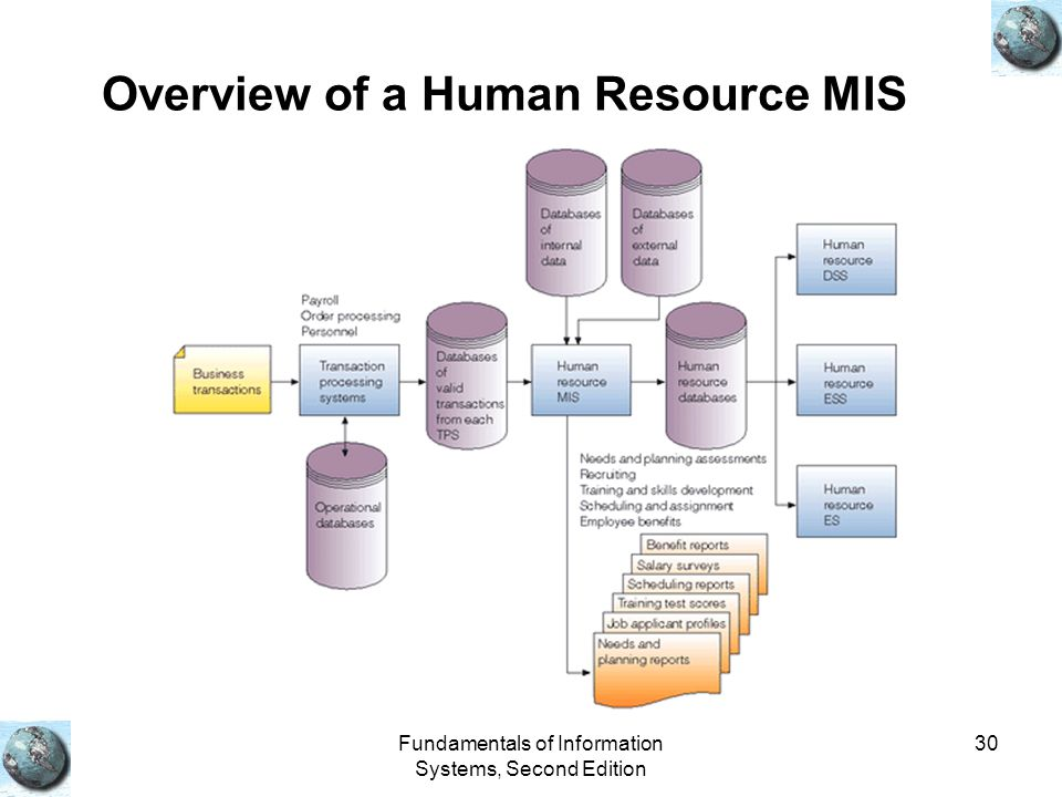 Fundamentals of Information Systems, Second Edition 30 Overview of a Human Resource MIS