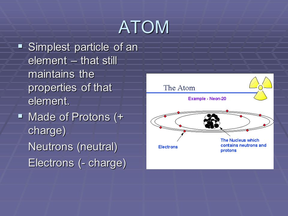 ATOM  Simplest particle of an element – that still maintains the properties of that element.