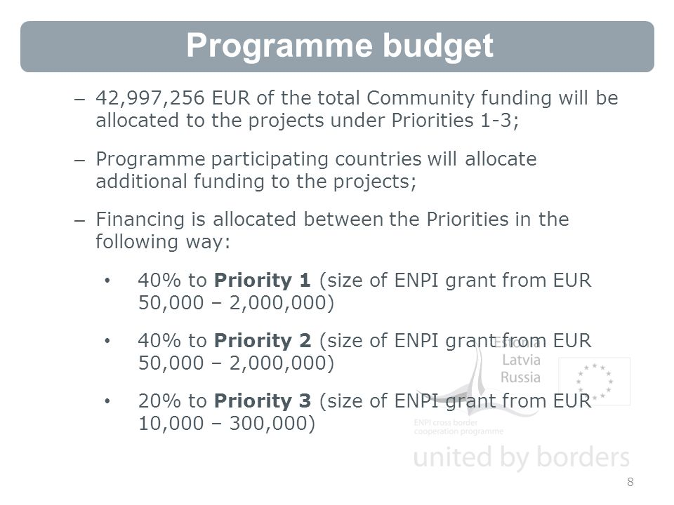 Programme budget 8 – 42,997,256 EUR of the total Community funding will be allocated to the projects under Priorities 1-3; – Programme participating countries will allocate additional funding to the projects; – Financing is allocated between the Priorities in the following way: 40% to Priority 1 (size of ENPI grant from EUR 50,000 – 2,000,000) 40% to Priority 2 (size of ENPI grant from EUR 50,000 – 2,000,000) 20% to Priority 3 (size of ENPI grant from EUR 10,000 – 300,000)