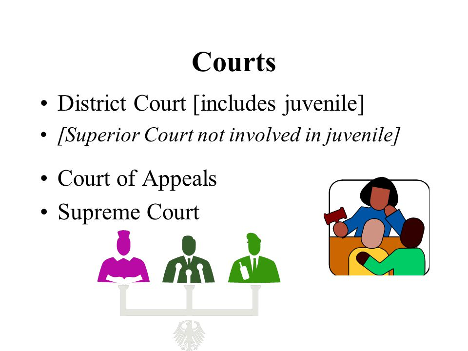 Courts District Court [includes juvenile] [Superior Court not involved in juvenile] Court of Appeals Supreme Court
