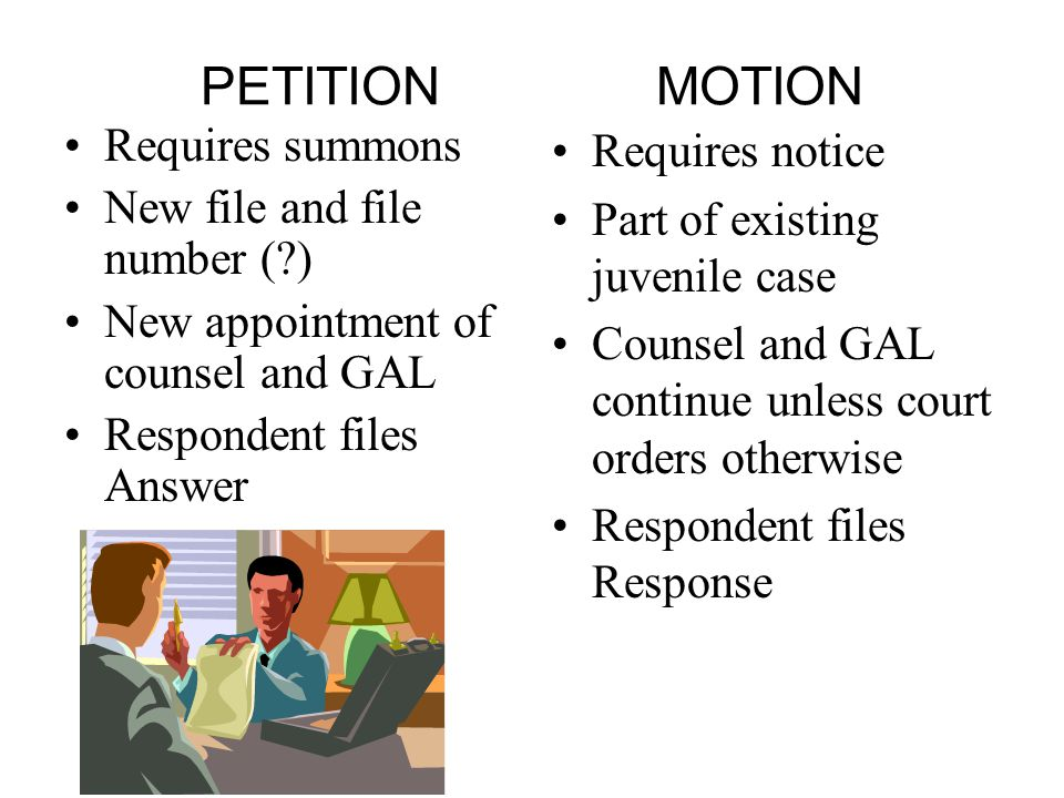 PETITION MOTION Requires summons New file and file number ( ) New appointment of counsel and GAL Respondent files Answer Requires notice Part of existing juvenile case Counsel and GAL continue unless court orders otherwise Respondent files Response