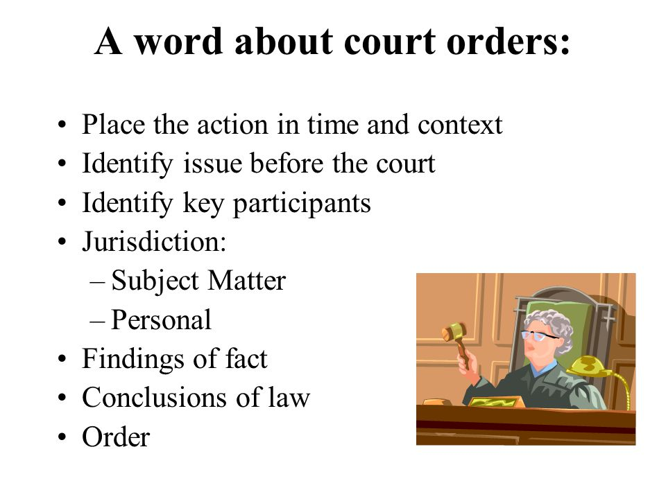A word about court orders: Place the action in time and context Identify issue before the court Identify key participants Jurisdiction: –Subject Matter –Personal Findings of fact Conclusions of law Order