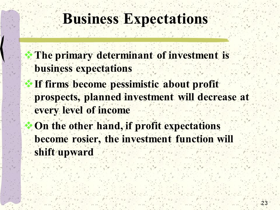 23 Business Expectations  The primary determinant of investment is business expectations  If firms become pessimistic about profit prospects, planned investment will decrease at every level of income  On the other hand, if profit expectations become rosier, the investment function will shift upward