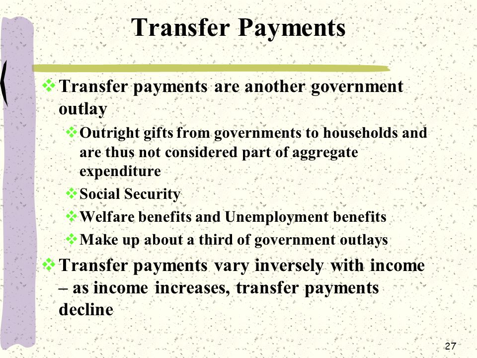 27 Transfer Payments  Transfer payments are another government outlay  Outright gifts from governments to households and are thus not considered part of aggregate expenditure  Social Security  Welfare benefits and Unemployment benefits  Make up about a third of government outlays  Transfer payments vary inversely with income – as income increases, transfer payments decline