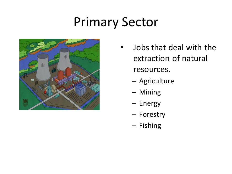 Primary Sector Jobs that deal with the extraction of natural resources.