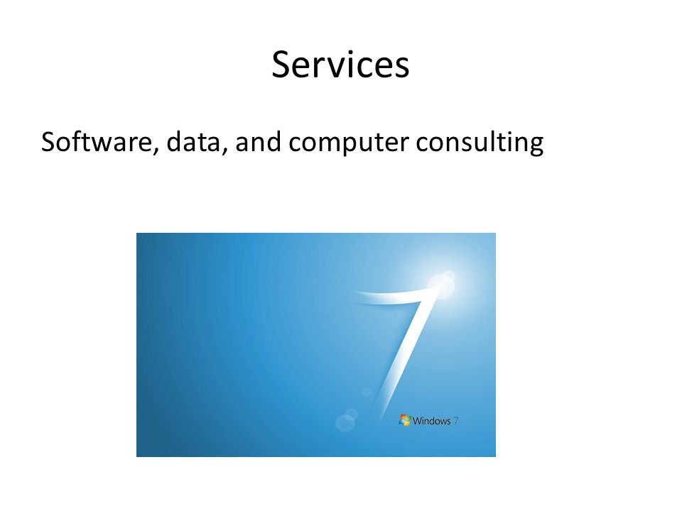 Services Software, data, and computer consulting