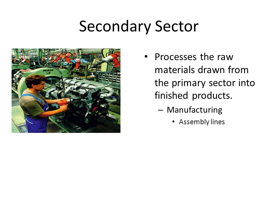 Secondary Sector Processes the raw materials drawn from the primary sector into finished products.