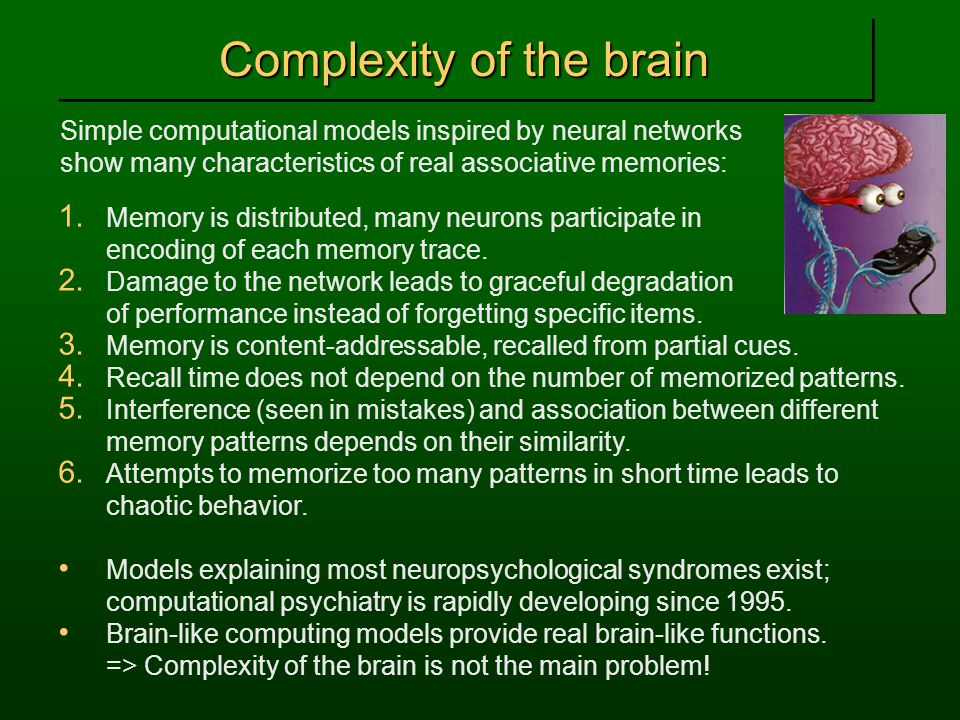 Complexity of the brain Simple computational models inspired by neural networks show many characteristics of real associative memories: 1.