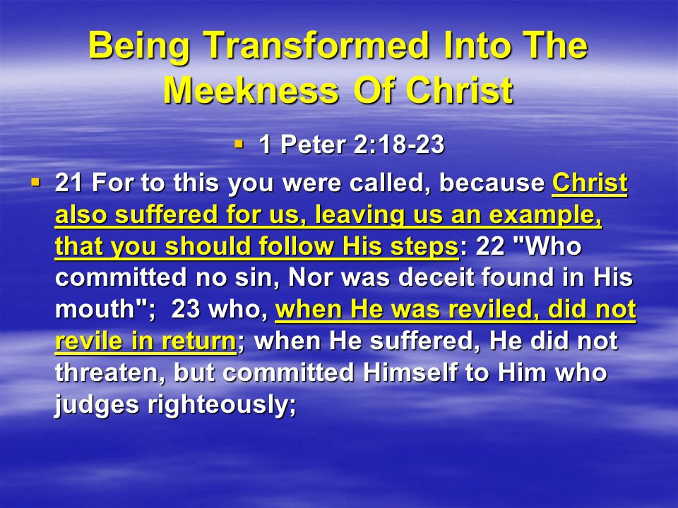 Being Transformed Into The Meekness Of Christ  1 Peter 2:18-23  21 For to this you were called, because Christ also suffered for us, leaving us an example, that you should follow His steps: 22 Who committed no sin, Nor was deceit found in His mouth ; 23 who, when He was reviled, did not revile in return; when He suffered, He did not threaten, but committed Himself to Him who judges righteously;