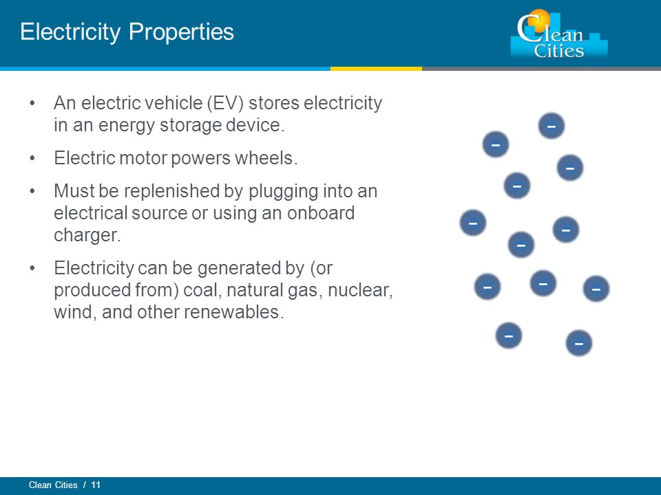 Clean Cities / 11 An electric vehicle (EV) stores electricity in an energy storage device.