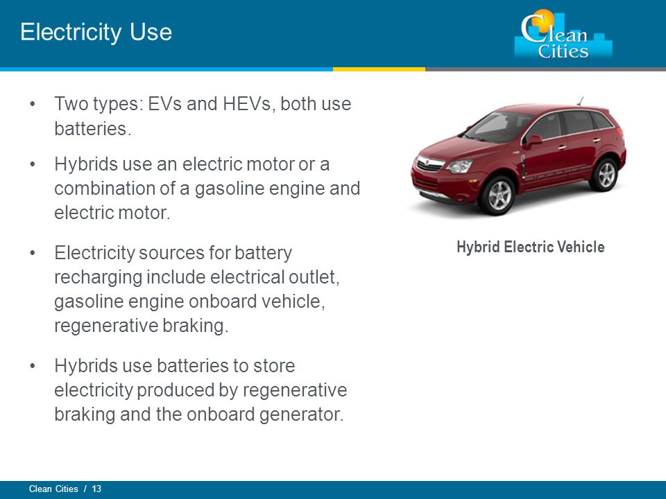 Clean Cities / 13 Two types: EVs and HEVs, both use batteries.