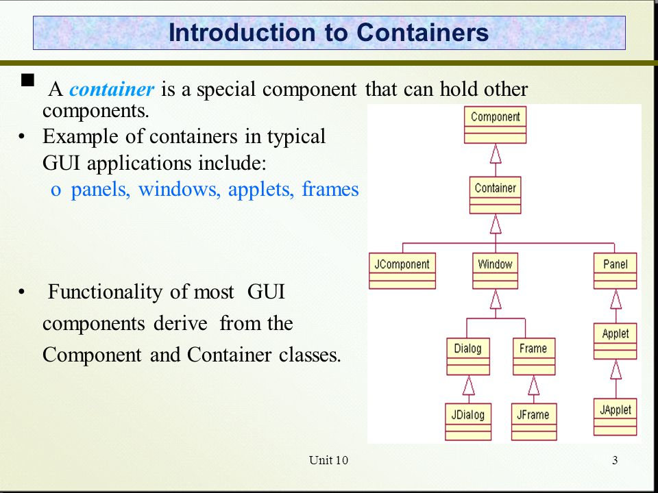 Unit 101 Java GUI Components and Events  GUI Components