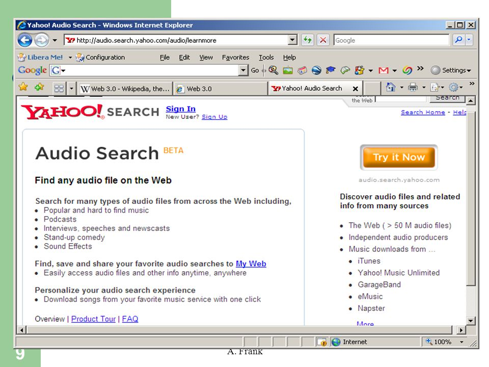 9 A. Frank Yahoo Audio Search