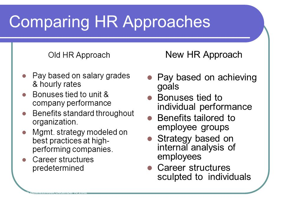 Comparing HR Approaches Old HR Approach Pay based on salary grades & hourly rates Bonuses tied to unit & company performance Benefits standard throughout organization.