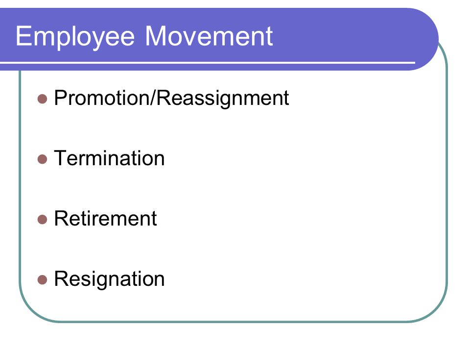 Employee Movement Promotion/Reassignment Termination Retirement Resignation