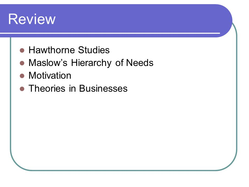 Review Hawthorne Studies Maslow's Hierarchy of Needs Motivation Theories in Businesses