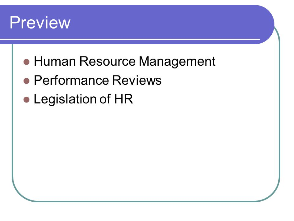 Preview Human Resource Management Performance Reviews Legislation of HR
