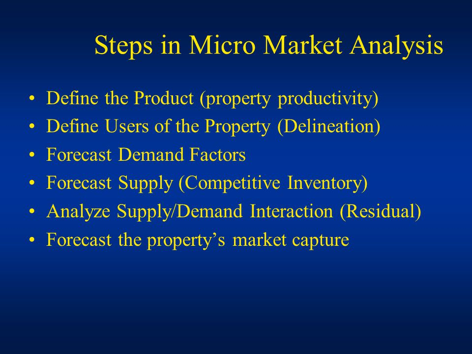 Steps in Micro Market Analysis Define the Product (property productivity) Define Users of the Property (Delineation) Forecast Demand Factors Forecast Supply (Competitive Inventory) Analyze Supply/Demand Interaction (Residual) Forecast the property's market capture