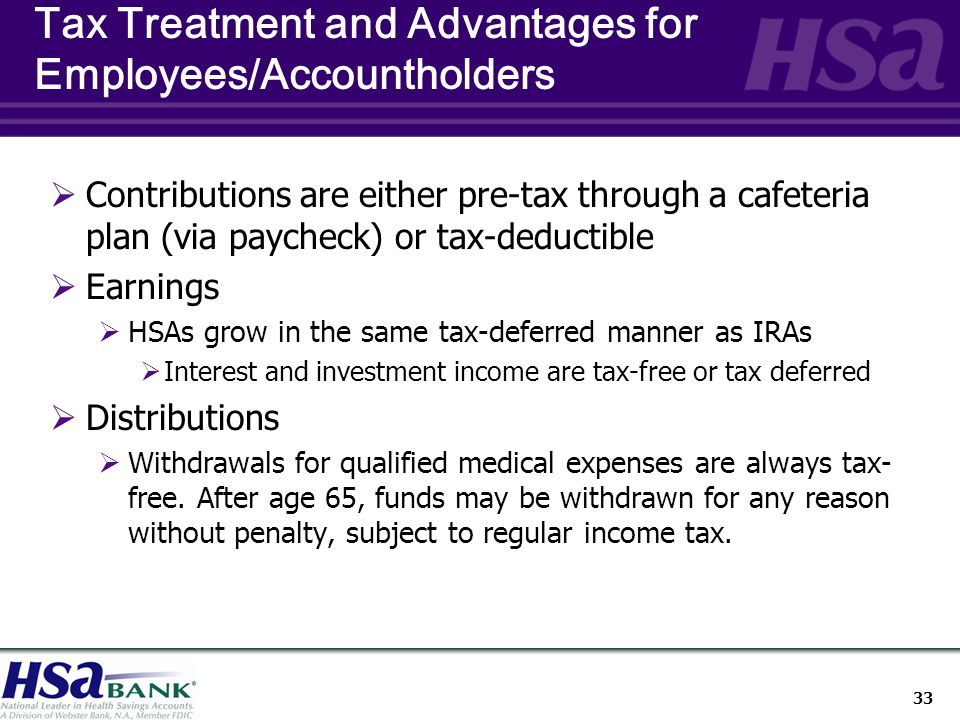 33 Tax Treatment and Advantages for Employees/Accountholders  Contributions are either pre-tax through a cafeteria plan (via paycheck) or tax-deductible  Earnings  HSAs grow in the same tax-deferred manner as IRAs  Interest and investment income are tax-free or tax deferred  Distributions  Withdrawals for qualified medical expenses are always tax- free.