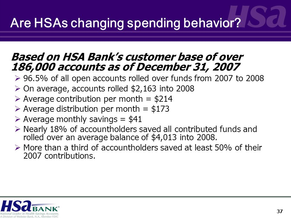 37 Are HSAs changing spending behavior.
