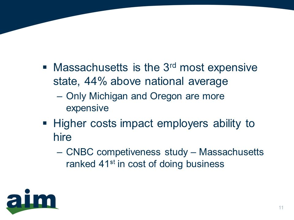 11  Massachusetts is the 3 rd most expensive state, 44% above national average –Only Michigan and Oregon are more expensive  Higher costs impact employers ability to hire –CNBC competiveness study – Massachusetts ranked 41 st in cost of doing business