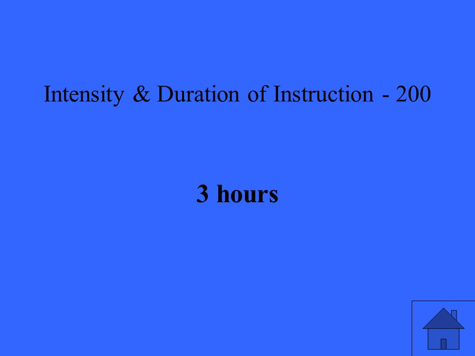 Intensity & Duration of Instruction hours