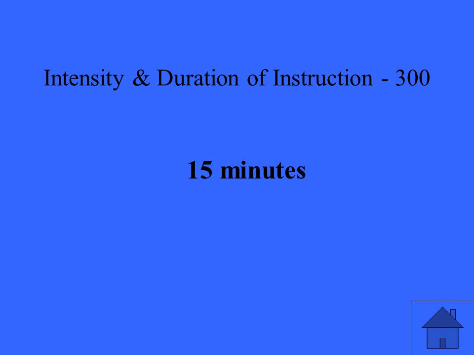 Intensity & Duration of Instruction minutes