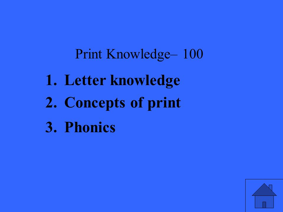 Print Knowledge– Letter knowledge 2.Concepts of print 3.Phonics