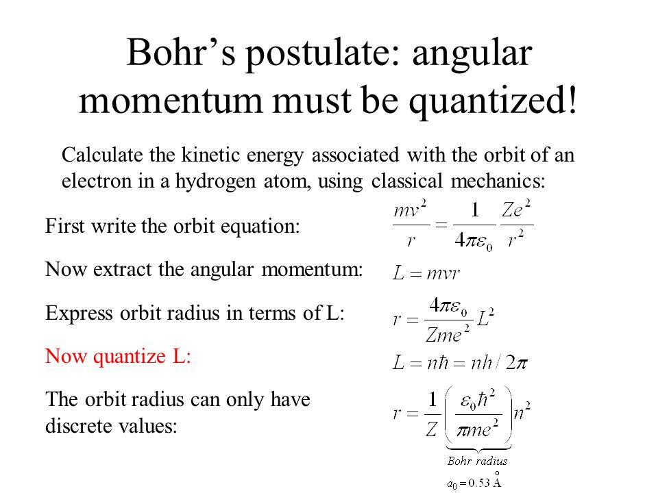 Bohr's postulate: angular momentum must be quantized.