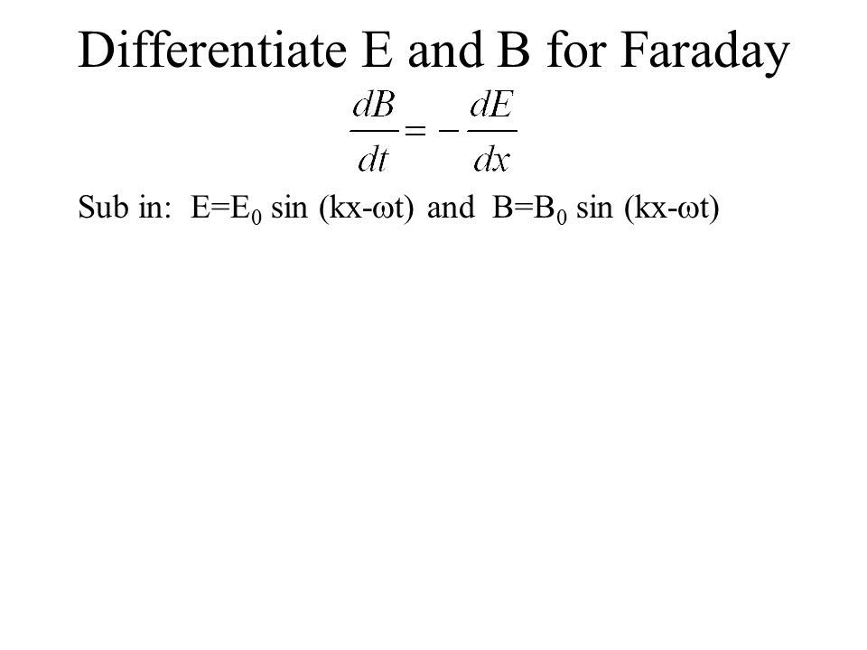 Differentiate E and B for Faraday Sub in: E=E 0 sin (kx-  t) and B=B 0 sin (kx-  t)