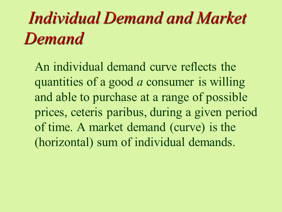 Individual Demand and Market Demand Individual Demand and Market Demand An individual demand curve reflects the quantities of a good a consumer is willing and able to purchase at a range of possible prices, ceteris paribus, during a given period of time.