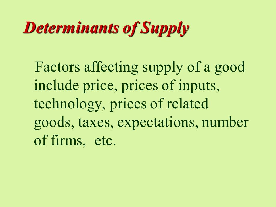Determinants of Supply Factors affecting supply of a good include price, prices of inputs, technology, prices of related goods, taxes, expectations, number of firms, etc.