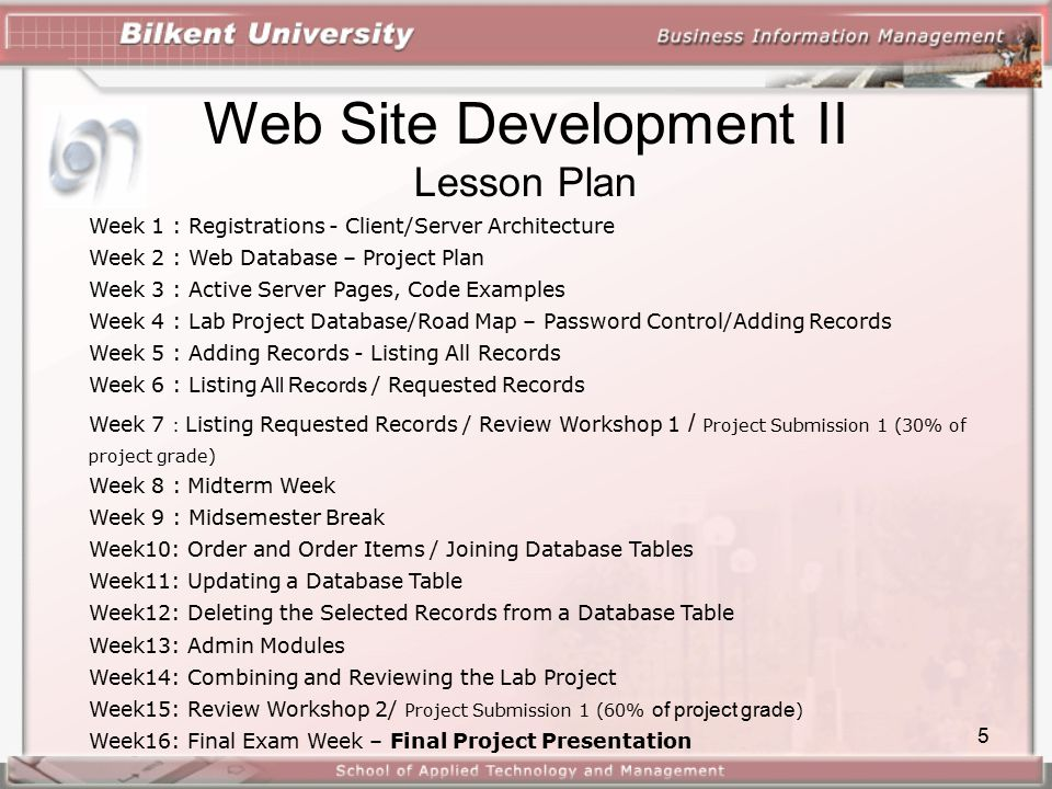 1 web site development ii course page site design client server