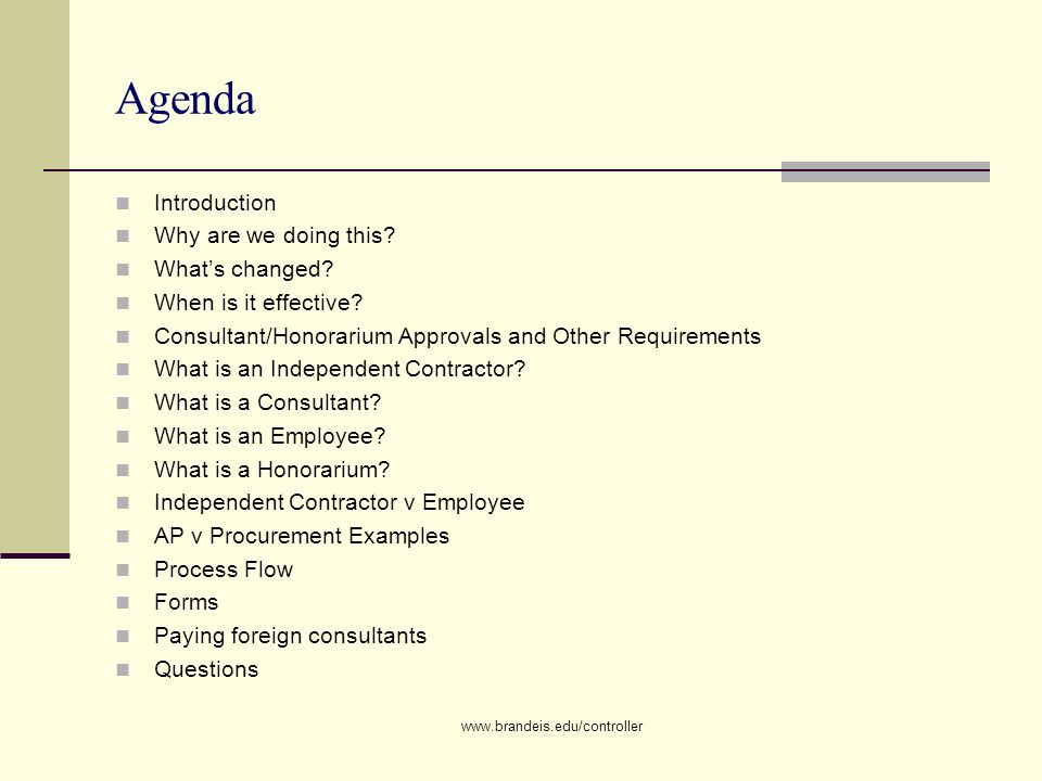 Brandeis University Consultant Policy Office of the