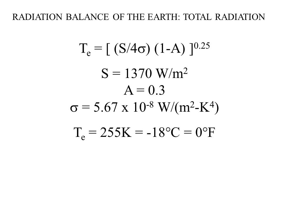 RADIATION BALANCE OF THE EARTH: TOTAL RADIATION T e = [ (S/4  ) (1-A) ] 0.25 S = 1370 W/m 2 A = 0.3  = 5.67 x W/(m 2 -K 4 ) T e = 255K = -18°C = 0°F