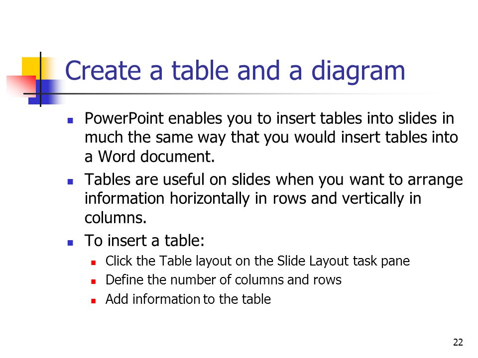 22 Create a table and a diagram PowerPoint enables you to insert tables into slides in much the same way that you would insert tables into a Word document.