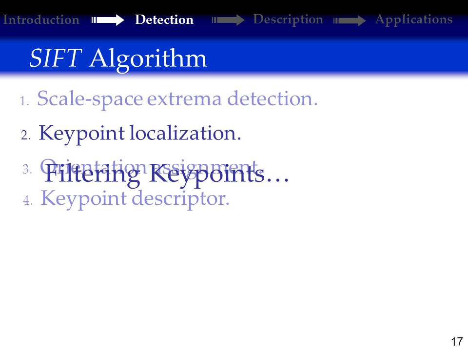 17 SIFT Algorithm 2. Keypoint localization. 1. Scale-space extrema detection.